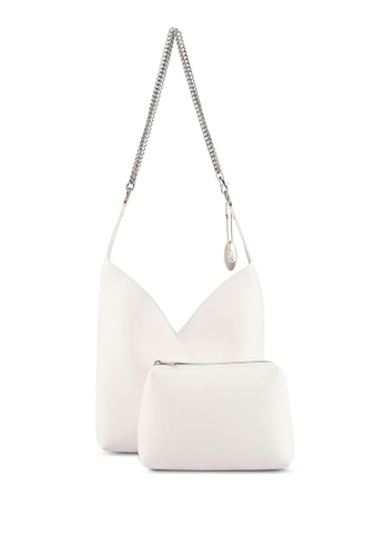 Perllini&Mel white Faux Leather With Metal Chain Shoulder Bag 7CDC4AC1D4016BGS_1