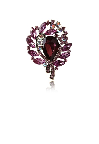 Glamorousky silver Fashion and Elegant Plated Gold Geometric Pattern Purple Cubic Zirconia Brooch D55F0AC28B69B3GS_1