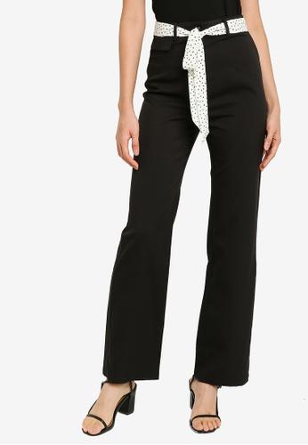 ZALORA BASICS black Scarf Belt Straight Leg Pants D68A1AA391A946GS_1