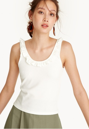 Pomelo white Scooped Ruffle Neck Tank Top - White A2375AAC3ADC22GS_1