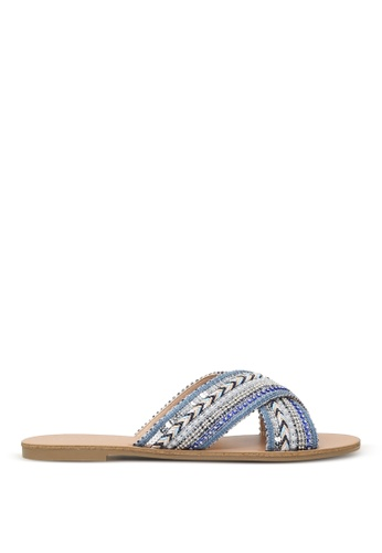London Rag blue London Rag Sage Women's Blue Cross Strap Glamrous Flat Embellished Sandals Sh1570 035C0SH9B3DEEDGS_1