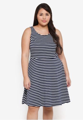 Dorothy Perkins 海軍藍色 Plus Size Navy Stripe Princess Dress AD123AA7CAC5C5GS_1
