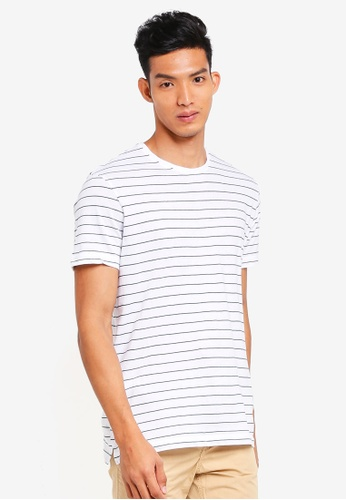 MANGO Man white Striped Cotton T-Shirt 957C7AAF0B54BBGS_1