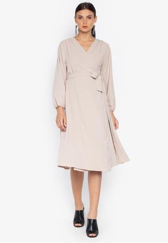 Susto The Label beige Hope Wrap Billowy Sleeve Dress 9B4DCAA7F6A421GS_1