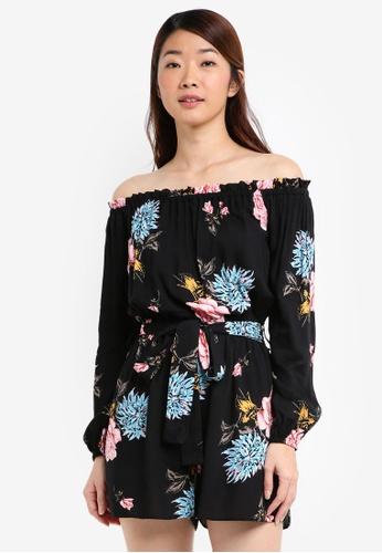 Miss Selfridge black and multi Black Vintage Floral Print Playsuit 525DFAAB5B3CB5GS_1
