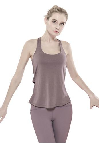 Trendyshop 紫色 假兩件健身瑜伽背心連胸圍 7E98FUS2ED350DGS_1