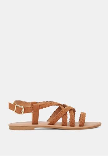 London Rag 褐色 条带平底凉鞋 32580SH3AD2855GS_1