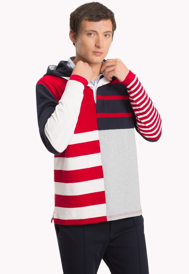 Captain Tommy RELAXED Hilfiger STRIPE Multi Sky HOODED RUGBY qwwS4Ya