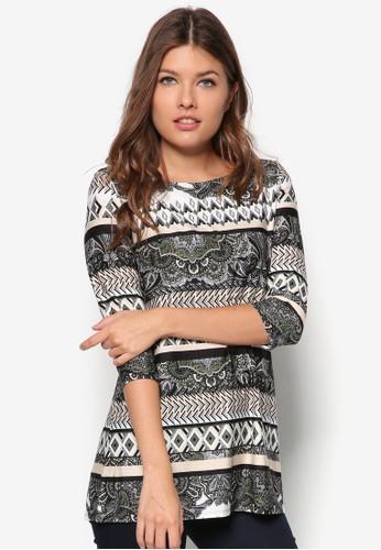 Petite 印zalora 衣服評價花七分袖上衣, 服飾, 服飾