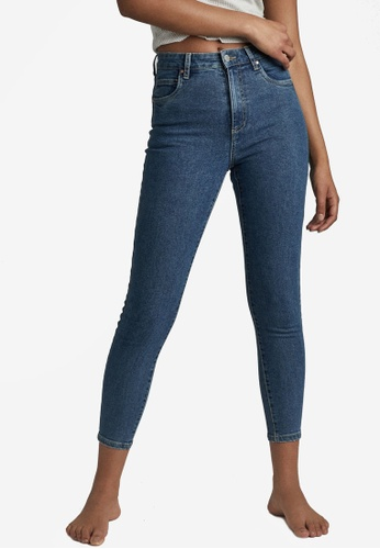 Cotton On blue High Rise Cropped Skinny Jeans 79076AA1D463F2GS_1