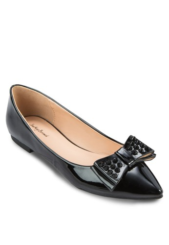 鉚釘蝴蝶zalora 心得結尖頭平底鞋, 女鞋, 鞋