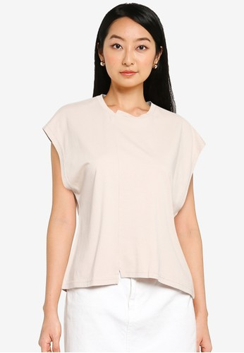 Noisy May beige and grey Petite Daphni Top B8565AA00F8718GS_1