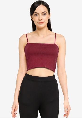 Cotton On 紅色 Straight Neck 短版細肩帶上衣 8ECA7AA4139EA6GS_1