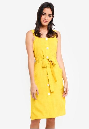 ZALORA yellow Buttoned Down Midi Dress D46EAAAB672DA2GS_1