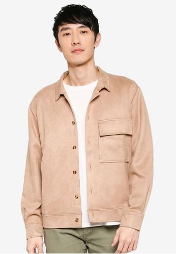 ZALORA BASICS brown Boxy Shirt Jacket 9F531AA0819123GS_1