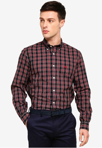 Brooks Brothers multi Red Fleece Tartan Cotton Basketweave Oxford Sport Shirt 4C434AA2F6CC3EGS_1