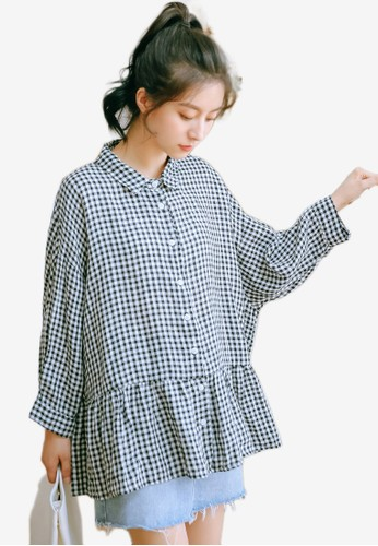 Shopsfashion black and white Flare Checked Blouse 4ECE4AA64DD253GS_1