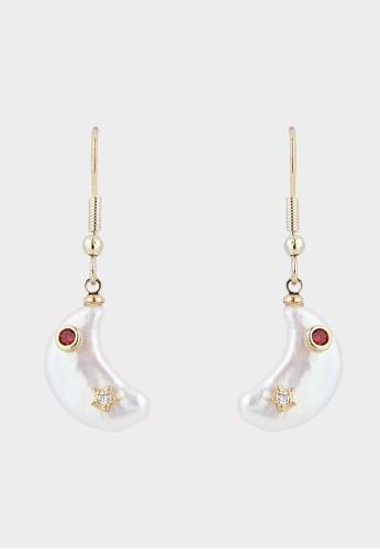 Pomelo multi Pearl Moon Shaped Drop Earrings - Gold 1F2EAACC0E1ECCGS_1