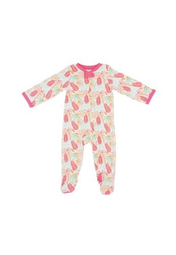 Baby Lovett pink Fern Leaves Two-Way Zipper Suit with Footies 8D6B9KA682CD51GS_1