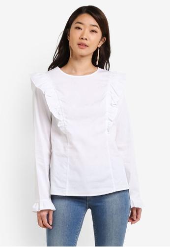 Dorothy Perkins white White Cotton Frill Top DO816AA0RI83MY_1