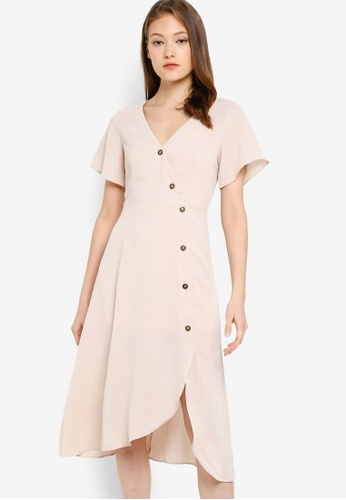 ZALORA BASICS beige Basic Asymmetric Tea Dress 37267AA673905EGS_1