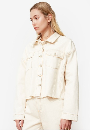 Trendyol white Frayed Hem Crop Denim Jacket 4FFF0AAB77E6EDGS_1