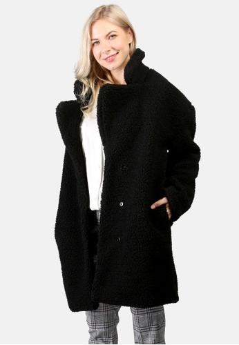 London Rag black Long Teddy Coat C098DAAA1F1631GS_1