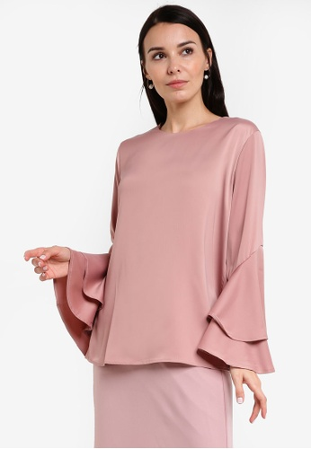 BYN pink 2-Layer Flare Sleeve Top BY059AA59VJOMY_1
