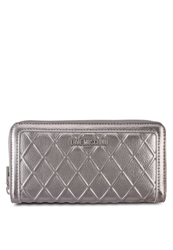 Love Moschino silver LOVE MOSCHINO Portafogli Embossed Wallet LO478AC0SXZ6MY_1