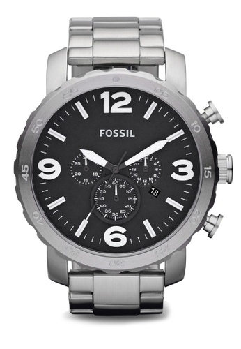 Fossil black and silver Nate Chronograph Stainless Steel JR1353 FO313AC14TUFSG_1