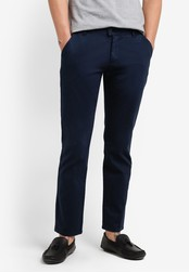 ZALORA navy Slim Fit Chino Button Tab Pants 0BE64AAEF892B2GS_1