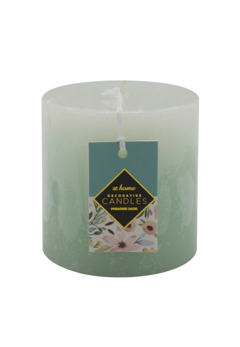 At Home green Paradise Oasis Scented Pillar Candle 3x3 A7480HLC69CD1FGS_1