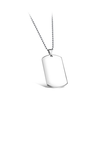 Glamorousky silver Simple Fashion Geometric 316L Stainless Steel Small Pendant 25mm Thick with Round Bead Necklace 96324ACE621EDDGS_1