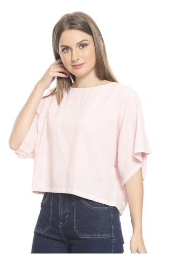 et cetera pink Stripes Blouse Short Sleeve 9A1AFAA349A232GS_1