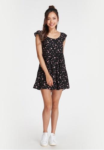 6IXTY8IGHT black JENN. Floral Tierred Dress DS08859 86EE5AA39C1F9EGS_1