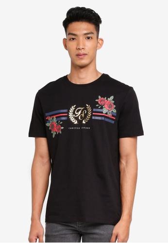 Burton Menswear London black Black Hi-Build Rose Print T-Shirt 98285AABA9DC1AGS_1