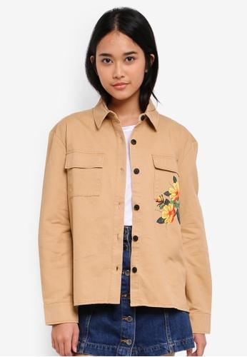 Something Borrowed beige Tropical Print Overshirt ACCA5AA7551924GS_1