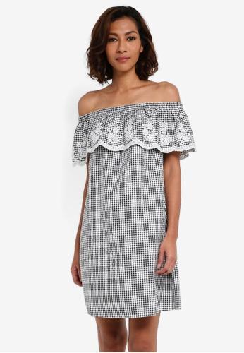 Dorothy Perkins black Gingham Embroidered Bardot Dress E3147AA036FDBAGS_1