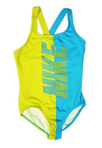 Nike Swim green and blue Girls Rift Prism Crossback One Piece 3BCE5KA2496BB8GS_1