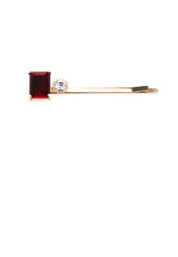 Glamorousky red Simple Fashion Plated Gold Red Cubic Zirconia Square Hair Clip 71B36ACD55990BGS_1