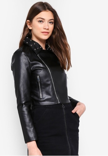 Something Borrowed black Studded Biker Jacket 7F83DAA4CDB786GS_1