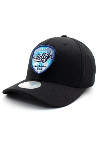 DOSSCAPS black FLIPPER Blue Wildlife Patch Fitted Cap DO290AC0RTQHMY_1