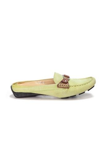 Shu Talk green AMAZTEP Bi-colored Buckle Slip On Mule Loafers(for Wide Feet) 9B04ESH7CDFBE7GS_1