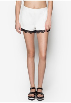 Love Tailored Shorts With Lace Hem