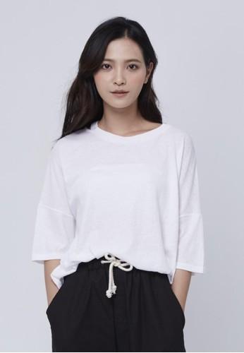 純棉領邊開口上衣,zalora taiwan 時尚購物網 服飾, T恤
