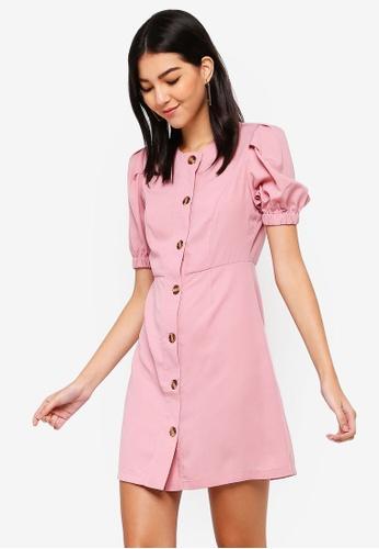 ZALORA pink Button Detail Balloon Sleeves Dress BB311AAF665FA6GS_1