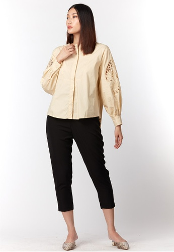 What To Wear beige See-Through Embroidered Sleeve Shirt in Beige 2889BAA5A464A7GS_1