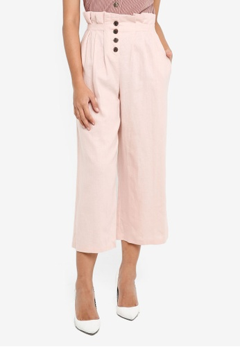 TOPSHOP pink Petite Button Awkward Wide Leg Trousers CBCC7AA8C7C625GS_1