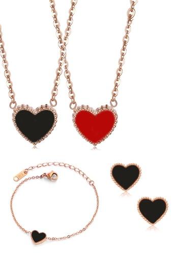 CELOVIS black and red and gold CELOVIS - Esme Heart-Shaped Black&Red Pendant Necklace + Bracelet + Black Earrings Set 5CB6DACE44378EGS_1
