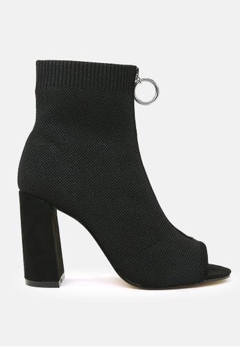 London Rag black Peep Toe Block Heel Sandal 92E70SHAB2B2C3GS_1
